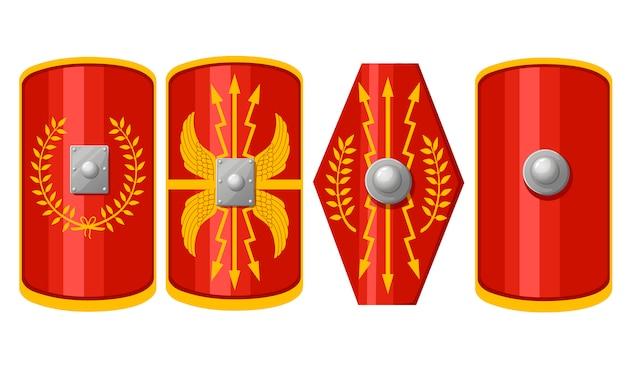 Verzameling schilden. shields of roman legionary. rood scutum met geel decoratiepatroon. outfit van de ancient legionary. illustratie op witte achtergrond