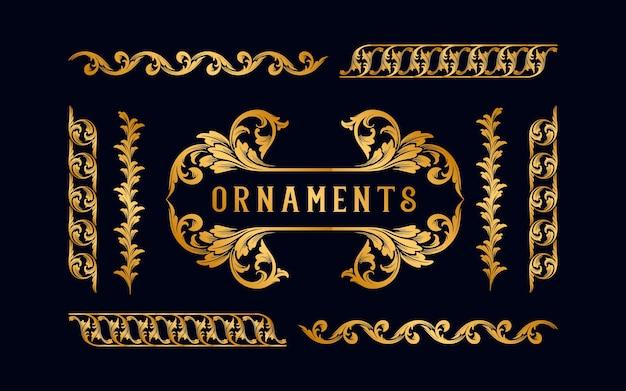 Verzameling set gouden label en frame ornamenten