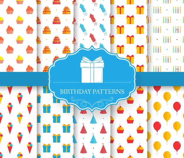 Verzameling set van gelukkige verjaardag naadloze patroon