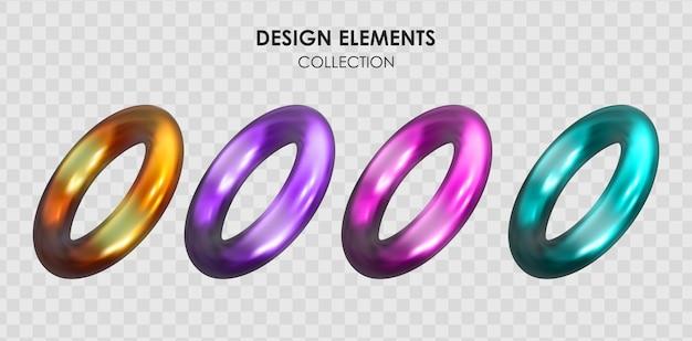 Verzameling set van realistische 3d render metallic kleurverloop geometrische vormen