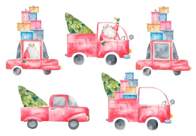Verzameling set van schattige kerst vrachtwagens met geschenken en kerstbomen met de kerstman, aquarel illustratie