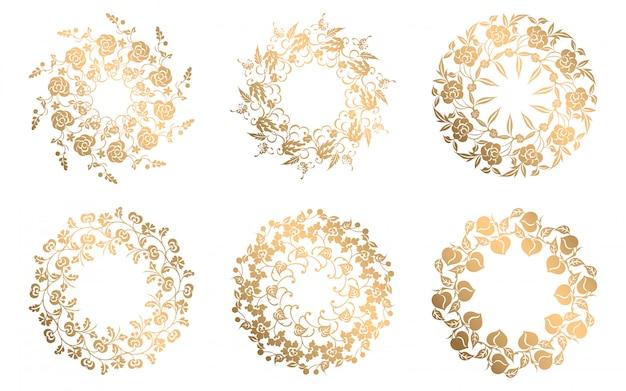 Verzameling sier decoratieve elementen