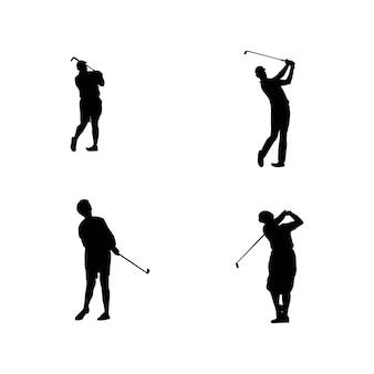 Verzameling silhouetten van golfspelers