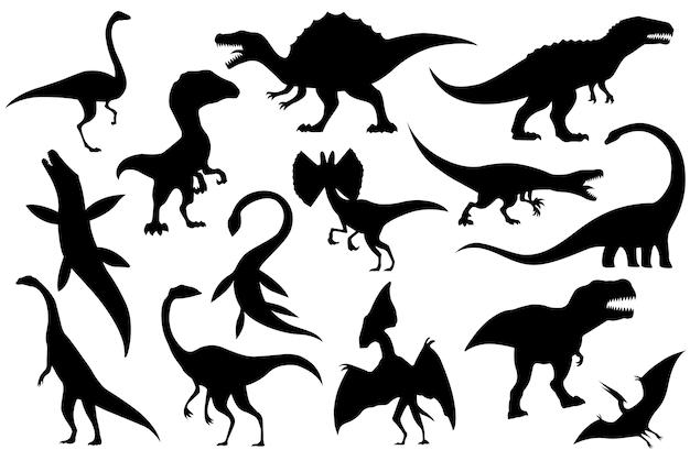 Verzameling silhouetten van skeletten van dinosaurussen.