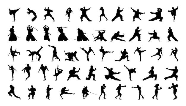 Verzameling silhouetten van vechtsporten