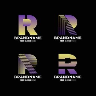 Verzameling sjablonen met platte r-logo's