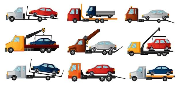 Verzameling sleepwagens. coole platte trekkende vrachtwagens met kapotte auto's.