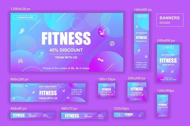 Verzameling sociale netwerken webbanners verschillende formaten voor fitness gym advertenties