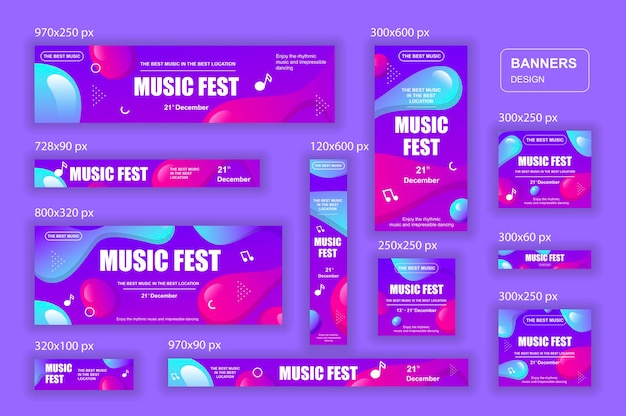 Verzameling sociale netwerken webbanners verschillende formaten voor muziekadvertenties
