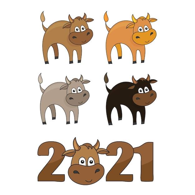 Verzameling stickers met de hoofden van schattige stieren. cartoon stieren - kleurrijke vectorillustratie.
