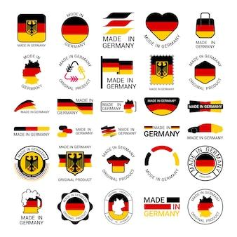 Verzameling stickers van made in germany
