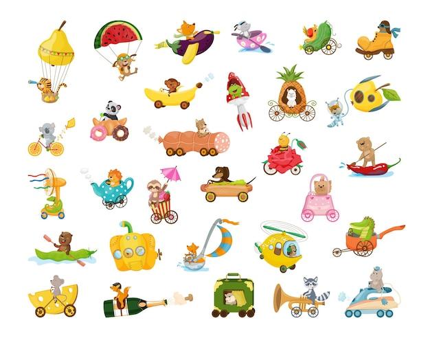 Verzameling tekenfilmdieren op ongebruikelijk vervoer