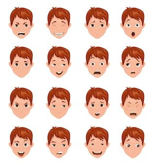 Verzameling tieneravatars met verschillende emoties