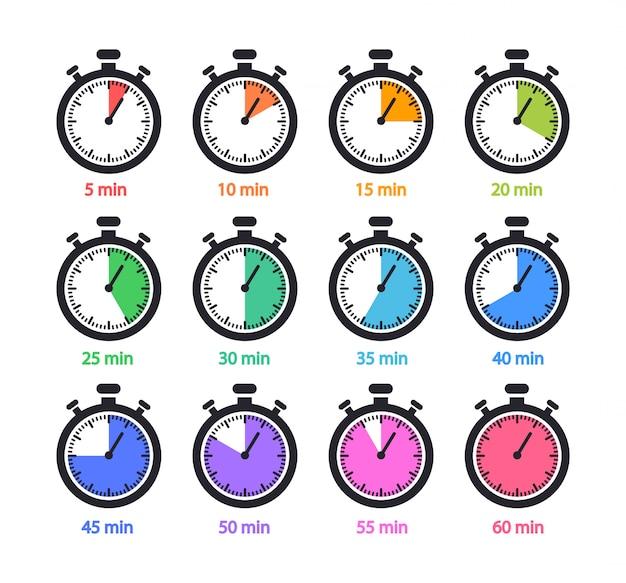 Verzameling timers en stopwatchs. 5,10,15,20,25,30,35,40,45,50,55,60 minuten.