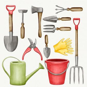 Verzameling tuinelementen en gereedschappen