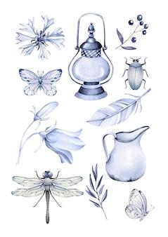 Verzameling tuinieren vintage elementen