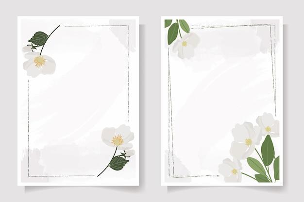 Verzameling uitnodigingskaart met bloemen en bladeren