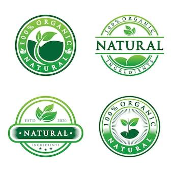 Verzameling van 100% natuurlijk groen label