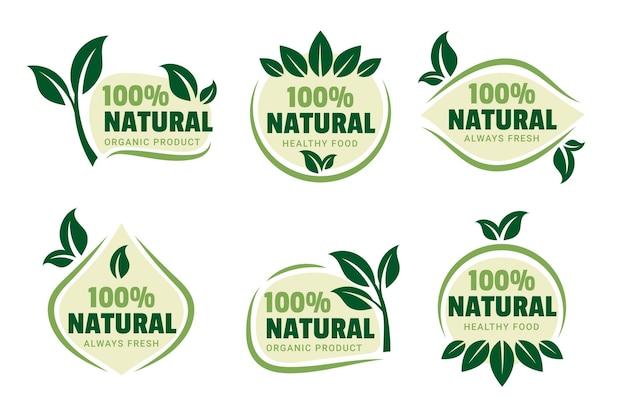 Verzameling van 100% natuurlijke groene badge