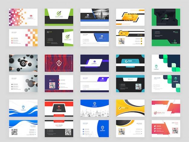 Verzameling van 15 moderne horizontale visitekaartje