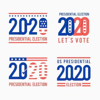 Verzameling van 2020 presidentsverkiezingen in logo's van de vs.