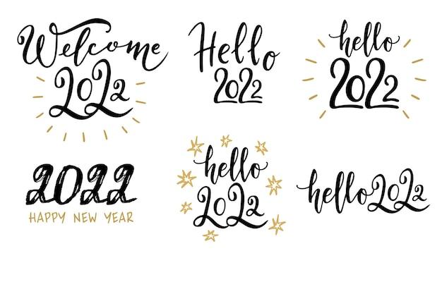 Verzameling van 2022 happy new year typografie logo tekstontwerp 2022 nummer ontwerpsjabloon set