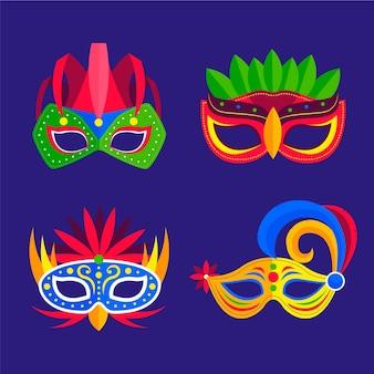 Verzameling van 2d geïllustreerde venetiaanse carnavalmaskers