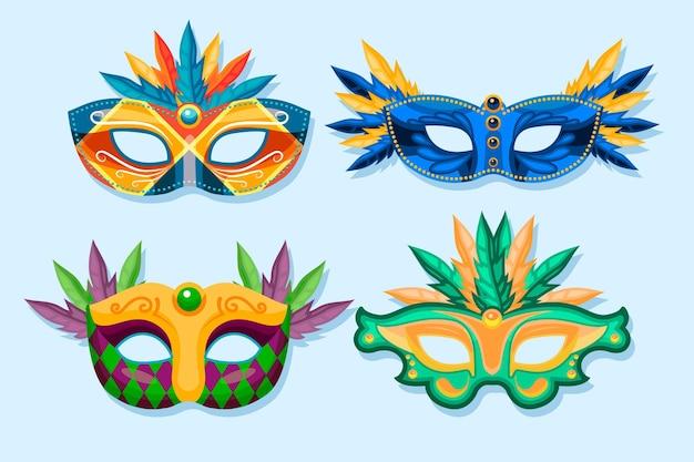 Verzameling van 2d gevederde venetiaanse carnavalmaskers