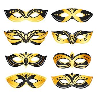 Verzameling van 2d luxe venetiaanse carnaval maskers