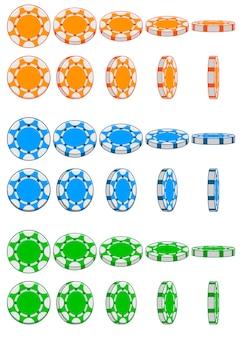 Verzameling van 3d gekleurde casino chips, animatie spelrotatie
