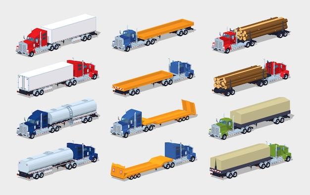 Verzameling van 3d lowpoly isometrische vrachtwagens met opleggers