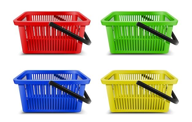 Verzameling van 3d-realistische vector supermarkt voedselkarren plastic lege manden met zwart handvat.