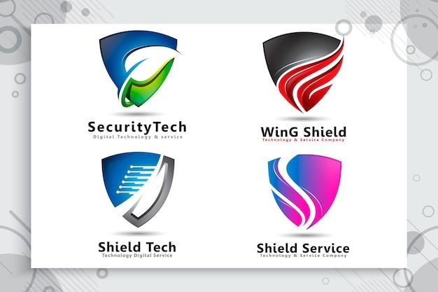 Verzameling van 3d-schild tech-logo instellen