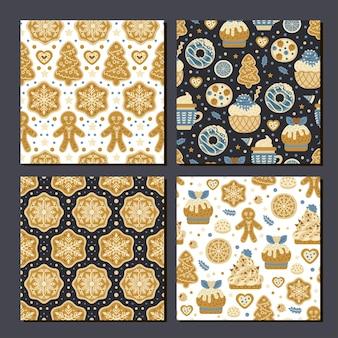 Verzameling van 4 naadloze koekjespatroon voor afdrukken