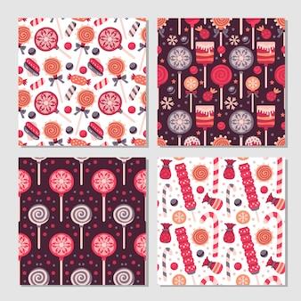 Verzameling van 4 naadloze patronenprints met lollysuikergoed