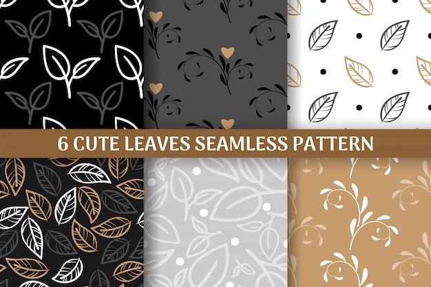 Verzameling van 6 schattige bladeren naadloze patroon.