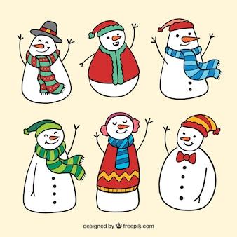 Verzameling van 6 sneeuwmannen