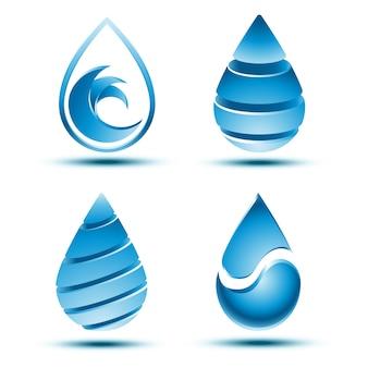 Verzameling van abstract blauw waterdruppellogo met schaduw op witte achtergrond.
