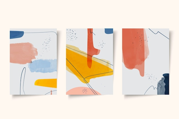 Verzameling van abstracte aquarel covers