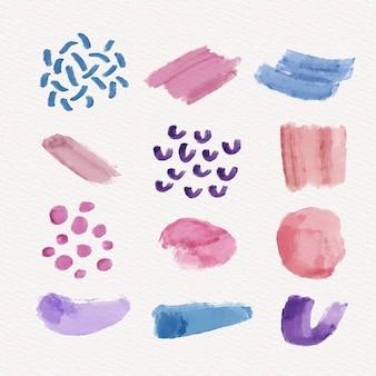 Verzameling van abstracte aquarelvlekken
