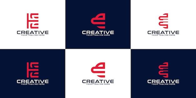 Verzameling van abstracte beginletter e logo-ontwerpen. icoon voor digitale zaken, technologie.