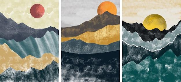 Verzameling van abstracte berglandschap