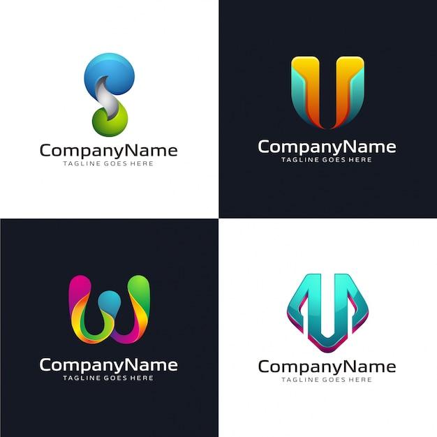 Verzameling van abstracte briefsjabloon logo