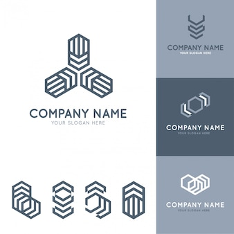 Verzameling van abstracte en moderne grijze logo's met geometrische vormen