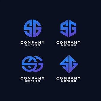 Verzameling van abstracte letter sg-logo-ontwerpen premium vector