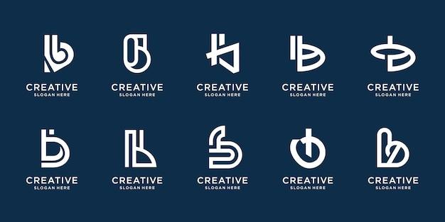 Verzameling van abstracte monogram b logo ontwerpsjabloon