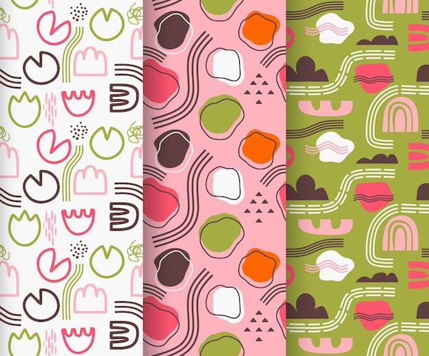 Verzameling van abstracte naadloze patronen.