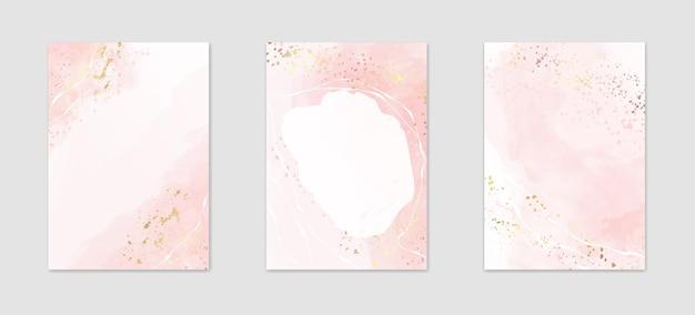Verzameling van abstracte stoffige roze aquarel achtergronden