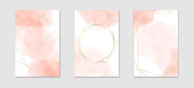 Verzameling van abstracte stoffige roze vloeibare aquarel achtergrond met gouden lijnen en frame