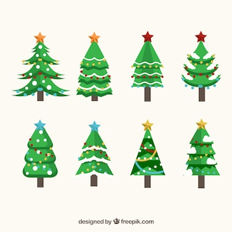 Verzameling van acht versierde kerstbomen